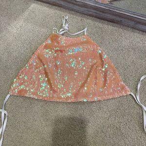 Baby pink sequin halter crop top